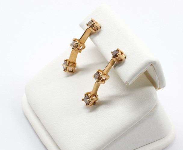 10K Yellow Gold Champagne Diamond Earrings, 0.50 ct.tw.