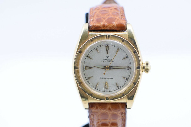 Men's Vintage Rolex Oyster Perpetual Chronometer Wrist Watch 18K Yellow Gold