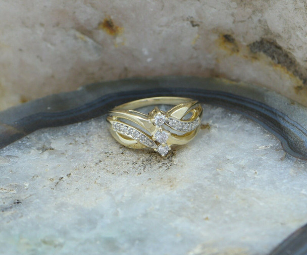 14K Yellow Gold 3 Diamond Ring with Double Bypass Design Circa 1990, Size 5.25