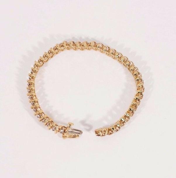 "10K Yellow Gold 3 ct. tw. Champagne Colored Diamond Bracelet 7"" long, 13 grams"