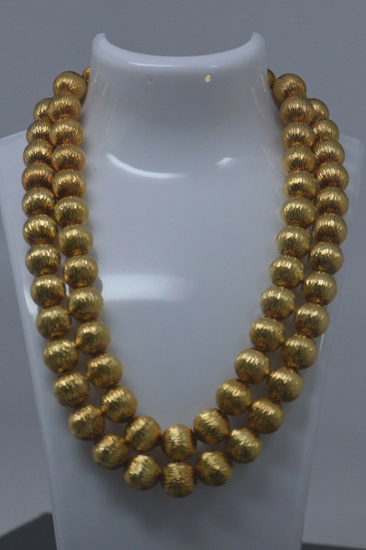 Awesome Tiffany 18K Yellow Gold Double Strand Bead Necklace, Circa 1950