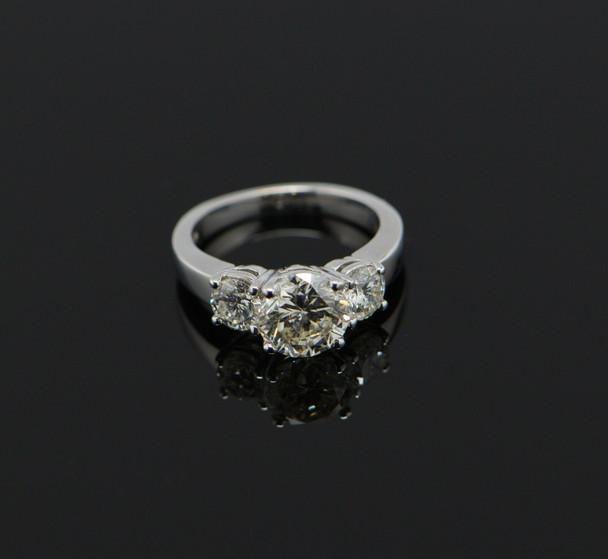 14K White Gold 3 Stone Diamond Ring, 2.4 ct tw, Circa 1950's, Size 4.25