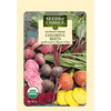 This variety has all of our favorite beets including deep red, golden, and candy striped roots topped by nutritious bright green, dark green with red ribs, and dark red foliage.