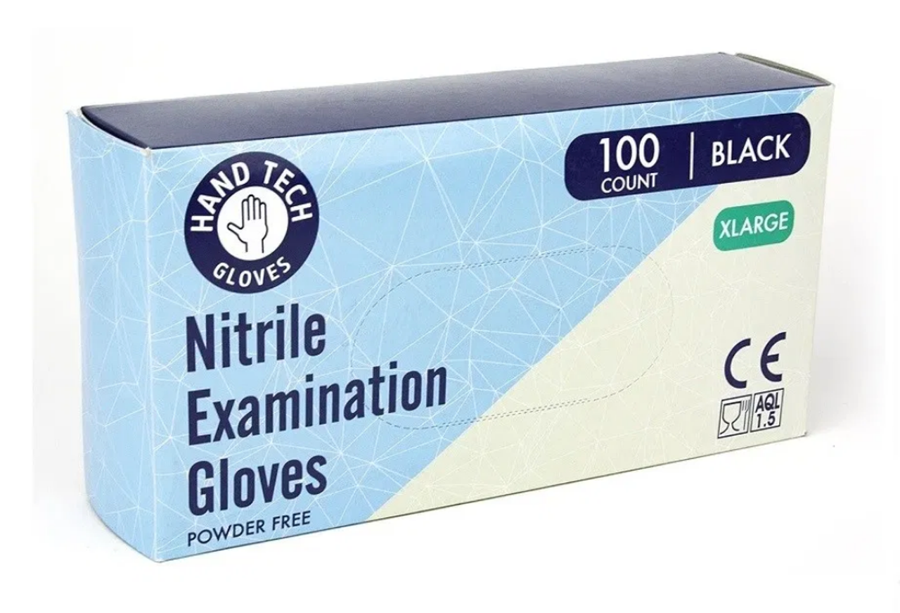 Hand Tech Powder Free Exam Gloves are an alternative for those who are allergic to natural rubber latex. They are the preferred choice for tattoo body art and high-end salon professionals because they're distinct and mask stains, inks and dyes during use. Black.