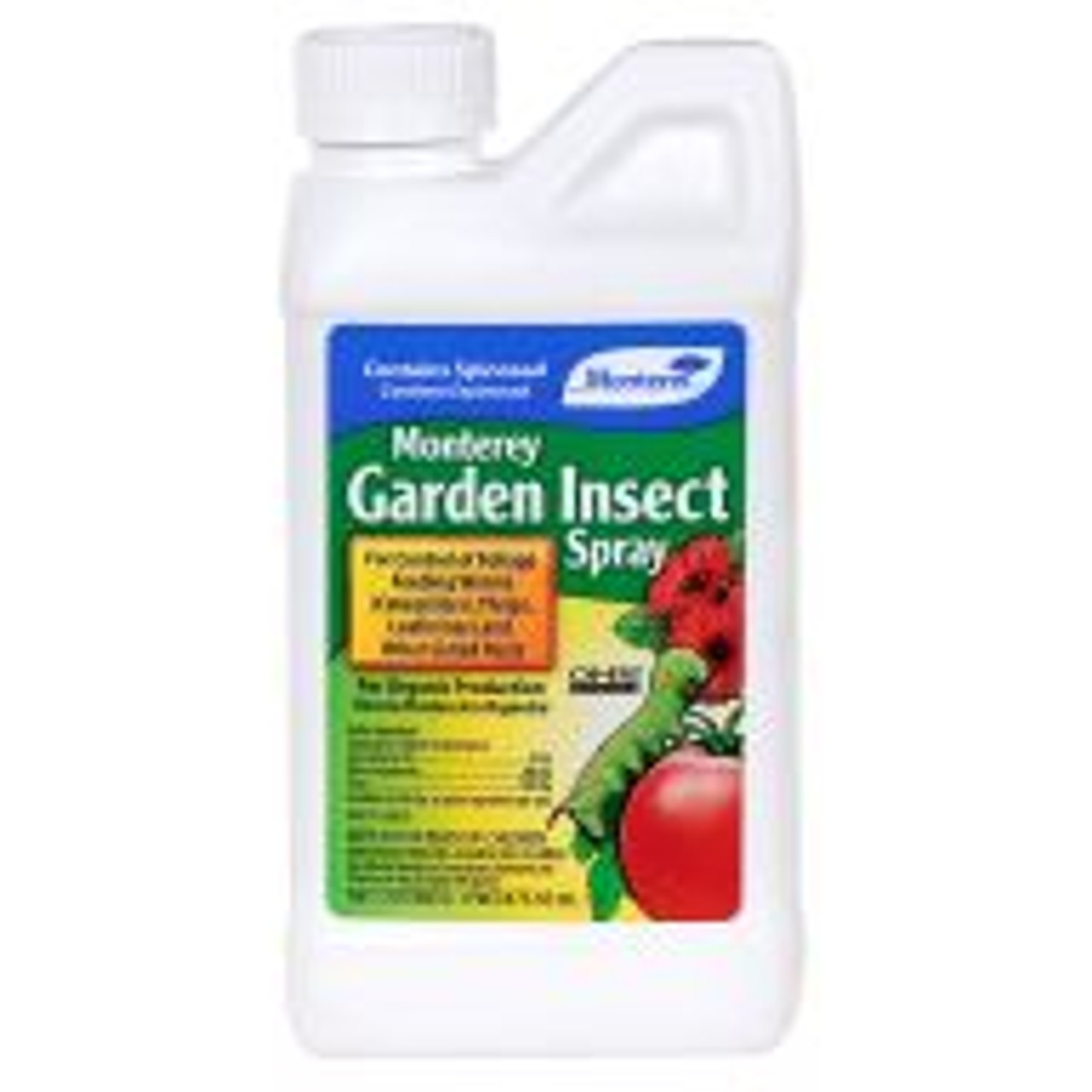 Monterey Garden Insect Spray uses Spinosad to effectively control thrips, leafminers, fire ants, diamond-back moths, borers and more. Gardeners mix four tablespoons of concentrated liquid Monterey Garden Insect Spray to one gallon of water (or as much as is needed for a single treatment) for easy foliar applications. Derived through fermentation of a naturally occurring soil bacterium, this fast-acting insecticide can be used on fruit and vegetable crops, ornamentals and turf.