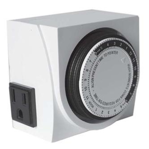 Green Rooster Dual Outlet Grounded Timer