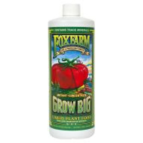 Grow Big® Liquid Plant Food (6-4-4) is a fast-acting, water-soluble fertilizer for lush, vegetative, compact growth. Use Grow Big® early in the season when young plants need an extra boost. Containing earthworm castings and Norwegian kelp, this special brew encourages sturdier, healthier stems and leaves, while also providing enough nutrients and trace minerals to create the kind of healthy branching later in the season for more abundant buds and blooms.