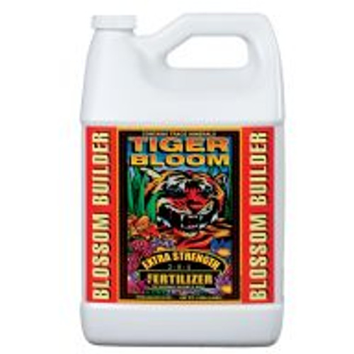 Fast-acting Tiger Bloom® Liquid Plant Food (2-8-4) is an ultra-potent, fast-acting, high-phosphorus fertilizer that also contains a good supply of nitrogen for growth and vigor. It is formulated with a low pH to maintain stability in storage and keep micronutrients available. When used as directed Tiger Bloom® encourages abundant fruit, flower, and multiple bud development. Use Tiger Bloom® at the first signs of flowering through harvest. Tiger Bloom® can be used for both hydroponic and soil applications.