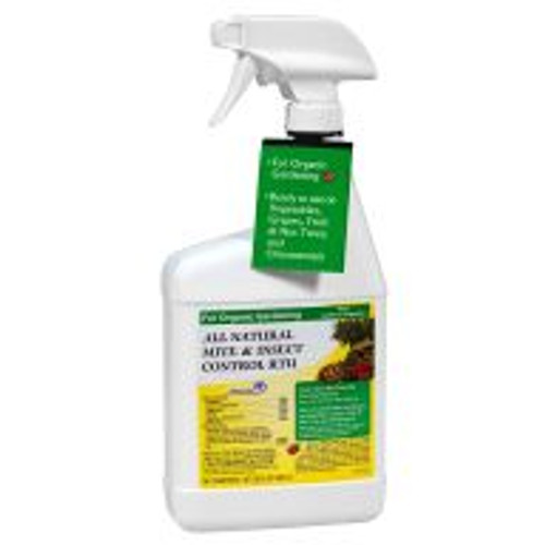 All-Natural Mite & Insect Control uses the bug-busting power of natural ingredients like rosemary, sesame oil, peppermint, thyme, and cinnamon to control common garden pests indoors or out. Thorough coverage of affected areas controls annoyances like aphids, mites, whiteflies, scale, caterpillars and more. <BR>