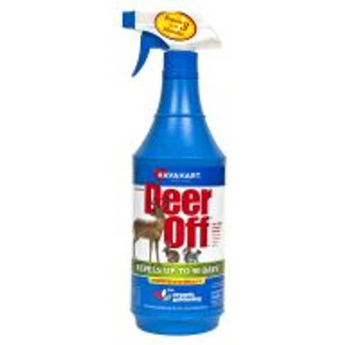 Deer-Off is a biodegradable deer deterrent EPA-approved for use on all plants, including food crops. Use Deer-Off at least once a season for best results. Each weatherproof application lasts three months. Available in a ready-to-use spray bottle. Also effective against rabbits, voles, moles and squirrels. Discontinue use two weeks before harvest. A combination of egg solids, garlic oil and hot peppers makes this an effective deterrent.