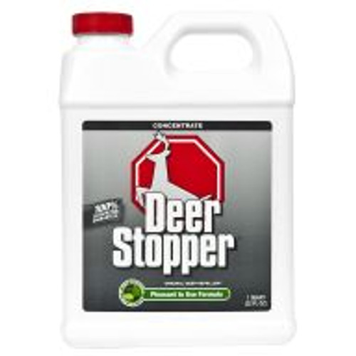 Deer Stopper is a highly effective formula for preventing deer, elk and moose damage on all shrubs, flowers, plants and turf areas when used according to directions. With rosemary oil, mint oil, cinnamon oil and putrescent whole egg solids as active ingredients, this product works by smell, taste and feel. Lasts for approximately 30 days. Covers an area of 1,000 sq ft.