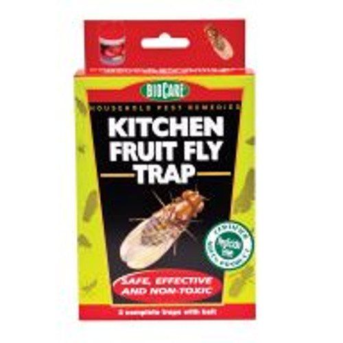 The Kitchen Fruit Fly Trap rids areas of fruit flies and other small pest flies. The discreet jar shaped trap releases a mild fruity smell that attracts the flies, which become trapped and drown. The nontoxic traps are safe to use in kitchens and around food in addition to compost piles, worm farms and garbage cans. Each trap works for up to six weeks, and a package contains two.