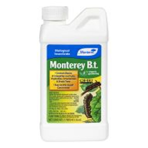 Monterey B.t. is a biological insecticide containing Bacillus thuringiensis, a naturally occurring bacterium, used for controlling destructive worms and caterpillars on fruit trees, vegetables, shade trees and ornamentals. This organic product won't harm beneficial insects, and is safe for people and pets when used as directed.