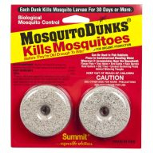 Each Mosquito Dunk slowly releases a long-term biological mosquito larvacide The active ingredient (Bacillus thuringiensis israelensis) will not harm people, plants, pets or wildlife. Mosquito Dunks kill mosquitoes before they grow old enough to bite and are used to treat stagnant water in birdbaths, flowerpots, rain barrels, gutters and unused swimming pools and hot tubs. Each disk treats up to 100 square feet of surface water (regardless of depth) and remains effective for up to 30 days. Includes two packs.