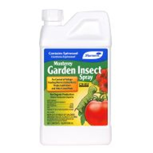 Monterey Garden Insect Spray uses Spinosad to effectively control thrips, leafminers, fire ants, diamond-back moths, borers and more. Gardeners mix four tablespoons of concentrated liquid Monterey Garden Insect Spray to one gallon of water (or as much is needed for a single treatment) for easy foliar applications. Derived through fermentation of a naturally-occurring soil bacterium, this fast-acting insecticide is listed can be used on fruit and vegetable crops, ornamentals and turf.