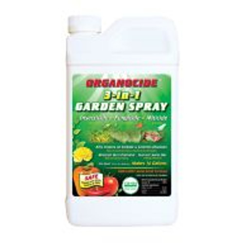 Organocide is an organic insecticide and fungicide that works on 25 common pest insects, and 4 problem diseases for plants. Controls pests such as mites, whiteflies, aphids, etc. Also stops fungal diseases like powdery mildew, and black spots on roses. Effective solution that works to prevent pests and disease naturally.