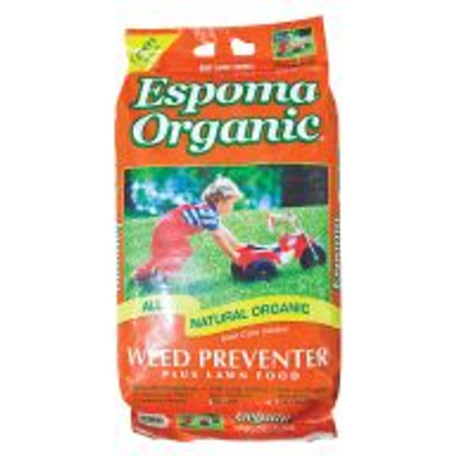 Espoma Organic® Weed Preventer (9-0-0) helps prevent weeds on lawns, and it helps make grass more resistant to heat, drought and other stresses. This corn-gluten-meal-based application prevents dandelions, crabgrass and other common weeds, it won't burn lawns, and it's safe for use around people, pets and the environment. This 25-pound bag will treat roughly 1,250 square feet.