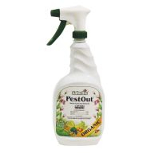Pest Out miticide and insecticide provides reliable control of mites, thrips, aphids and other pests for up to ten days per application. Formulated from garlic extract and other essential oils, pests are less prone to develop resistance to Pest Out as compared to synthetics. All active ingredients are food grade materials making Pest Out safe to use around people and animals. Gardeners can use Pest Out up to the day of harvest to protect crops throughout the growing season. Offer gardeners Pest Out that's in a convenient, ready-to-use bottle.
