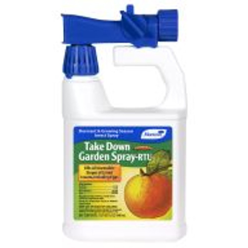 Gardeners can take out pests with Take Down Garden Spray. This ready-to-use formula contains pyrethrins and canola oil botanical insecticides, and can be used on vegetables, fruit trees, houseplants and ornamentals to kill aphids, beetles, mealy bugs, caterpillars, and plant bugs.