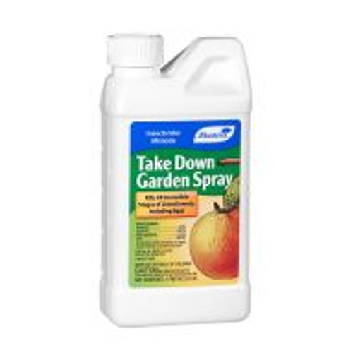 Take Down Garden Spray combines natural pyrethrin with the residual activity of horticultural canola oil. Gardeners can use it on vegetables, fruit trees, houseplants, and ornamentals to control aphids, beetles, mealy bugs and caterpillars. It kills all stages of insects, including eggs. Take Down does not remain in the environment for long periods of time but it is toxic to fish and domestic animals.