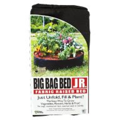 """The Big Bag Bed Jr offers all the benefits of a Smart Pot in a raised garden bed. This weatherproof bed requires no laborious installation and folds out to offer 7.1 sq ft of gardening space that lasts for years. It warms quickly in the spring, releases excess heat in the summer and provides good drainage all year long. The Big Bag Bed Jr also air prunes roots while protecting plants from underground pests, such as gophers and moles. Dimensions: 36"""" diameter and 12"""" height. 50 gal capacity."""