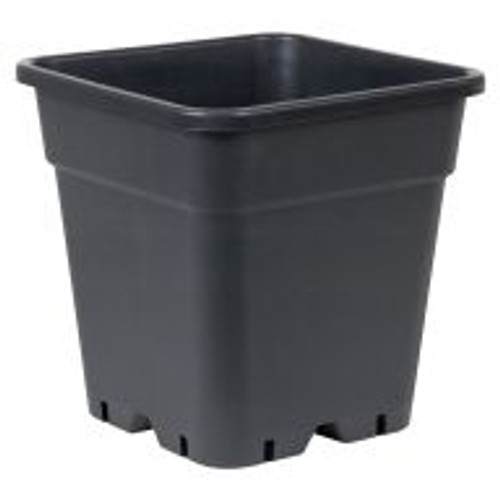 "With a capacity of 18 liters, this Giant Square Pot certainly lives up to its name. This solid black receptacle is made of heavy-duty plastic and features drainage holes on its bottom and sides. The Giant Square Pot is 11.75"" wide and 12"" tall."