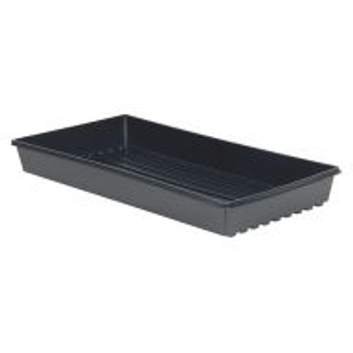 "High-sided, full depth Black Standard Flats provide maximum strength for filling and stacking. Units measure 21"" x 10 3/4"" x 2 3/8""."