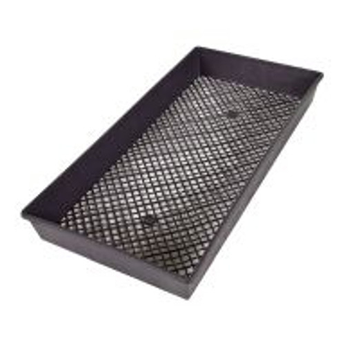 This Standard Mesh Bottom Tray fits snugly inside and outside of standard flats. The mesh bottom makes it a great option for suspending young plants or cuttings in nutrients.