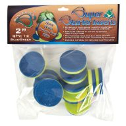 "Super Starter 2"", Blue/Green Inserts feature a slit from the edge to the center for easy handling of delicate cuttings. Use one side or the other to differentiate plant varieties. Their round shape and standard sizes make them compatible with most hydroponic cloning systems, and they're made of 1/2""-thick, durable food-grade material that withstands multiple uses. Pack of 12."