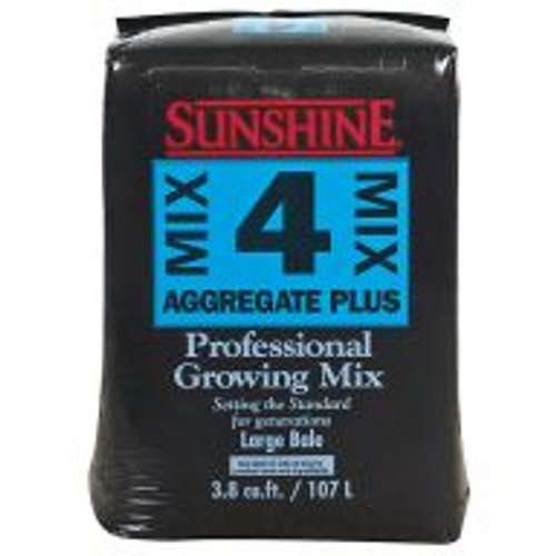 Sunshine® Aggregate Mix #4 uses a combination of Canadian sphagnum peat, perlite, dolomitic limestone, gypsum, and a wetting agent to provide plants with a growing environment with plentiful oxygen and quick drainage.