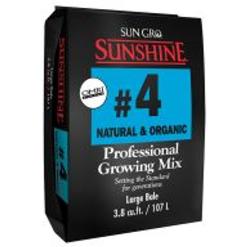 Packed with Canadian sphagnum peat moss, coarse perlite, organic starter nutrient charge, gypsum and dolomitic limestone, Sunshine® Mix #4 Natural & Organic is recommended wherever high air capacity and fast drainage are a must.
