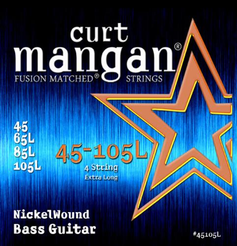 45-105 Nickel Extra Long 4-String Bass Guitar String Set