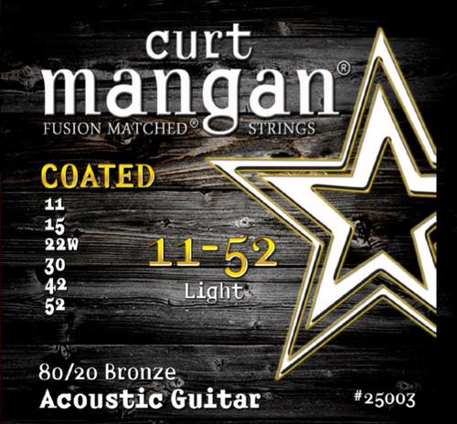 11-52 80/20 Bronze Light COATED Acoustic Guitar String Set