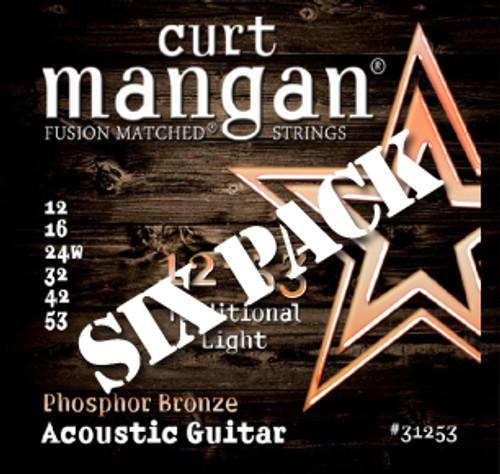 12-53 Phosphor Bronze Acoustic Guitar String Six Pack