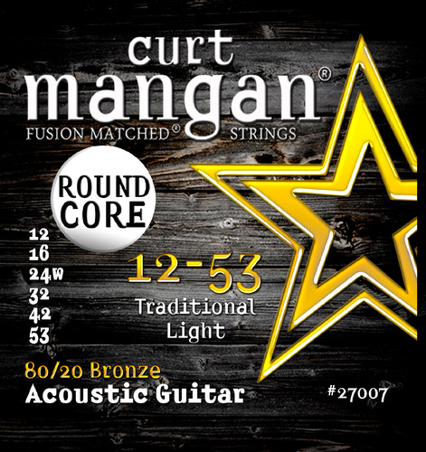 12-53 80/20 Bronze Round Core Acoustic Guitar String Set