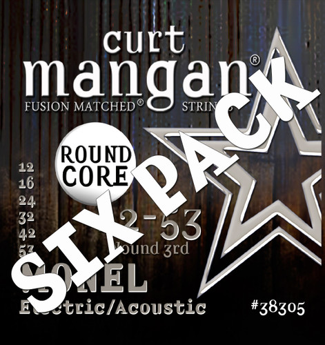 12-53 Monel Round Core Acoustic Guitar String SIX PACK