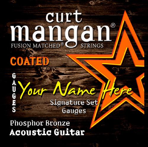4 X COATED Phosphor Bronze Custom Gauged Acoustic Guitar String Sets
