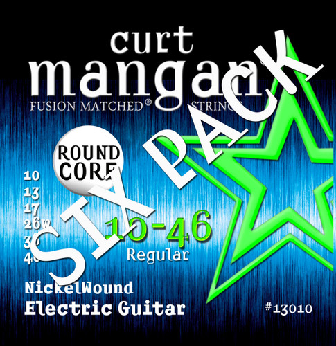 10-46 ROUND CORE Nickel Wound Guitar Strings SIX PACK