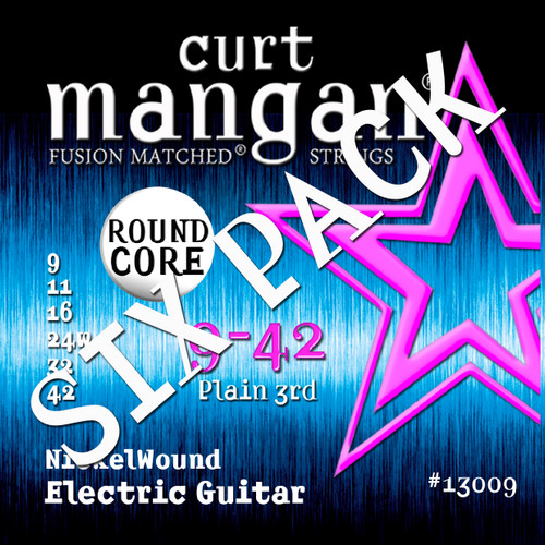 9-42 ROUND CORE Nickel Wound Guitar Strings SIX PACK