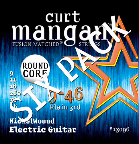 9-46 ROUND CORE Nickel Wound Guitar Strings SIX PACK