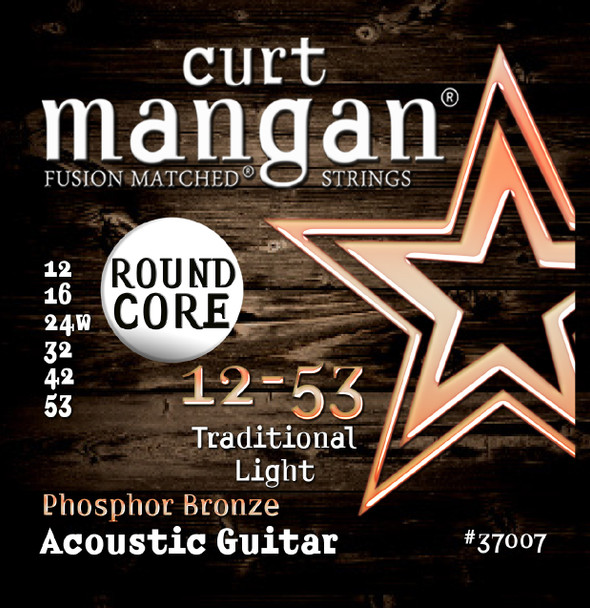 12-53  Phosphor Bronze Round Core Acoustic Guitar String Set