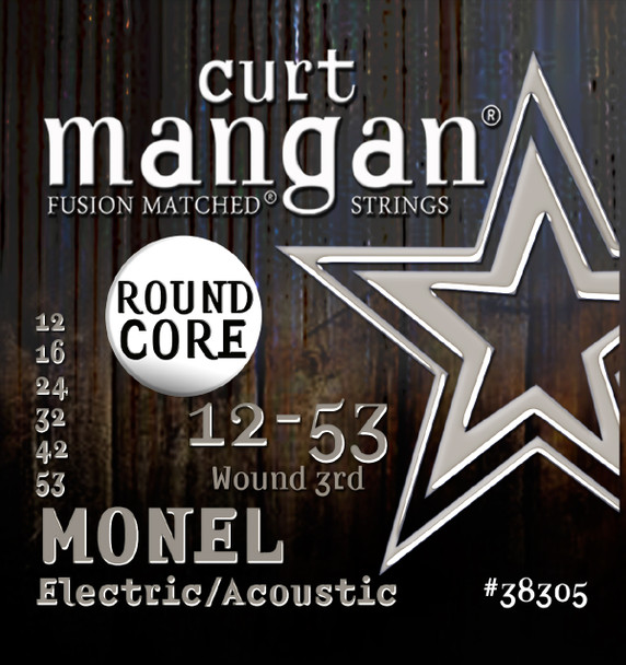 12-53 Monel Round Core Guitar String Set
