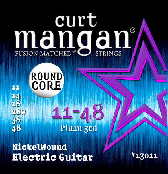 11-48 ROUND CORE Nickel Wound Guitar Strings SIX PACK