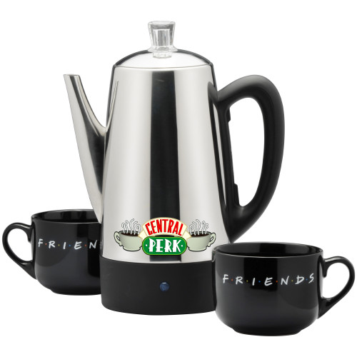 Friends 12-Cup Stainless Steel Electric Percolator with 2 ceramic mugs WBF-12 Select Brands