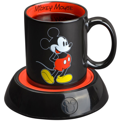 Disney Mickey Mouse Mug Warmer black and red with 12 Ounce Ceramic Coffee Mug DMP-16 Select Brands