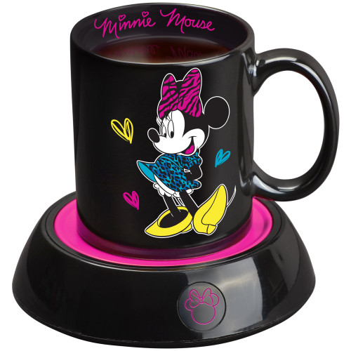 Disney Minnie Mouse Mug Warmer black and pink with 12 Ounce Ceramic Coffee Mug DMG-18 Select Brands