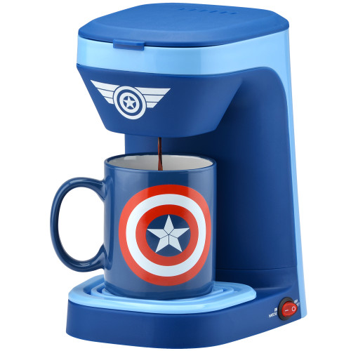 MARVEL Captain America 1-cup coffee maker with 12 ounce mug MVA-123CN Select Brands