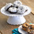 Friends mini donuts chocolate with frosting on white cake stand WBF-6 Select Brands