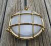 "Brass Nautical Clamshell Bulkhead Light no exterior mounting feet- 8"""
