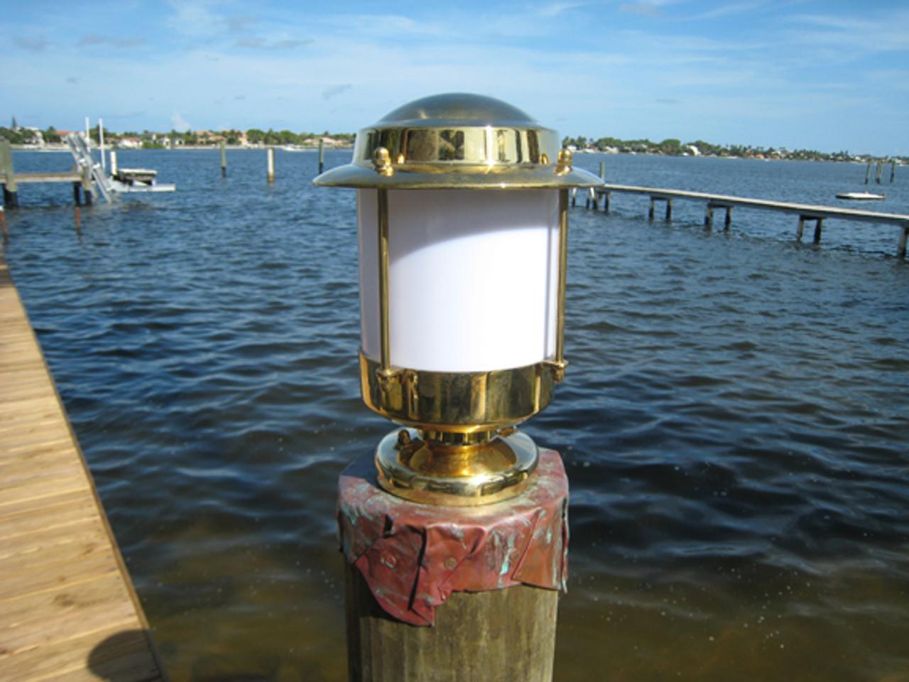 European brass piling pier light